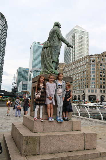 Our four youngest group members outside Docklands Museum