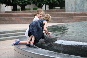 Enjoying a fountain at Canary Wharf